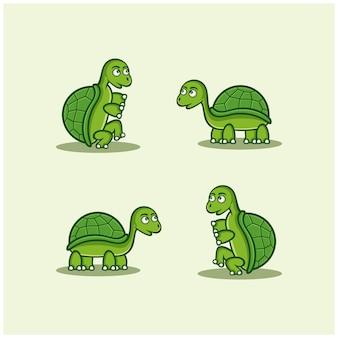 Personnage de dessin animé de mascotte animale tortue verte