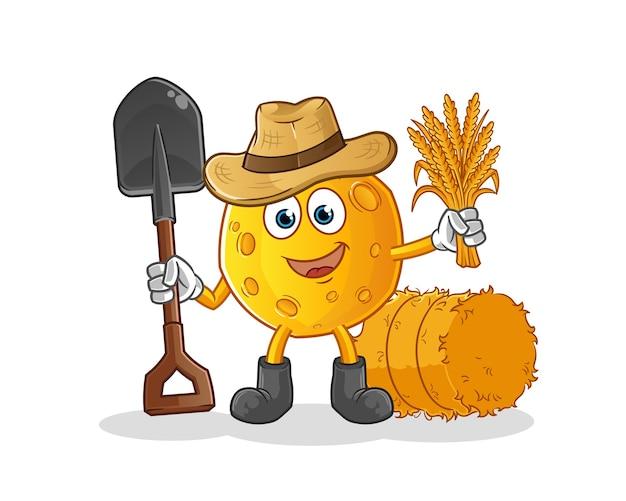 Personnage de dessin animé de mascotte de fermier de lune
