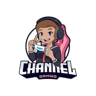 Personnage de dessin animé de mascotte de fille de joueur adolescent anime noir pour logo de jeu ou de streamer