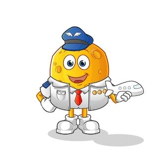 Personnage de dessin animé de mascotte pilote de lune