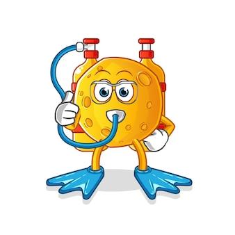 Personnage de dessin animé de mascotte de plongeurs de lune
