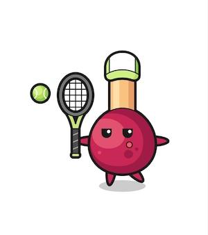 Personnage de dessin animé de matchs en tant que joueur de tennis, design de style mignon pour t-shirt, autocollant, élément de logo