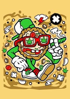 Personnage de dessin animé de mauvaise herbe de pizza