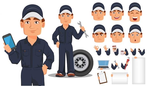 Personnage de dessin animé de mécanicien automobile professionnel