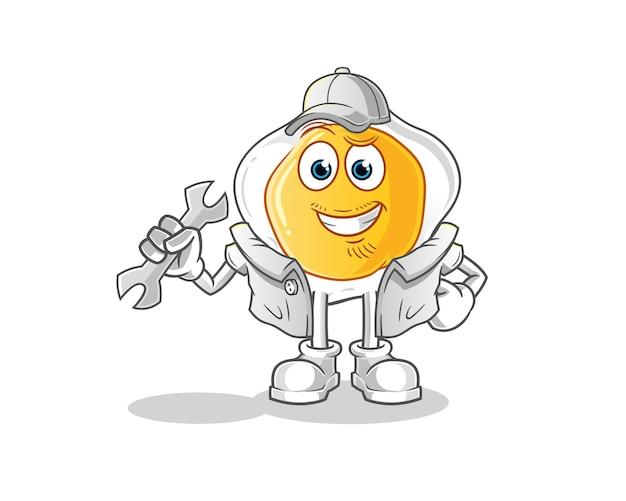 Personnage de dessin animé de mécanicien oeuf frit
