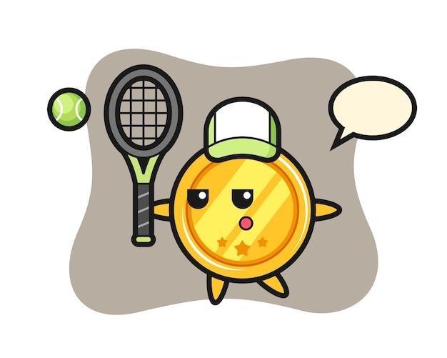 Personnage de dessin animé de médaille en tant que joueur de tennis