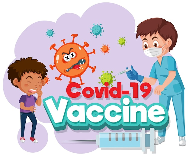Personnage de dessin animé de médecin et d'enfant patient avec la police du vaccin covid-19