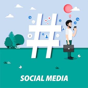 Personnage de dessin animé avec les médias sociaux et un grand hashtag, likes, followers. influenceur, blogueur créant du contenu en ligne. marketing média, seo, caricature de job de gestionnaire de contenu