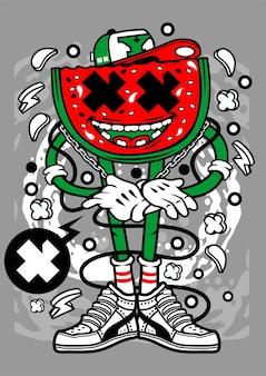 Personnage de dessin animé de melon d'eau
