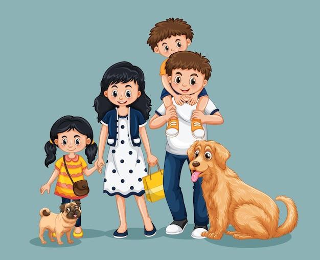 Personnage de dessin animé de membre de la famille heureuse