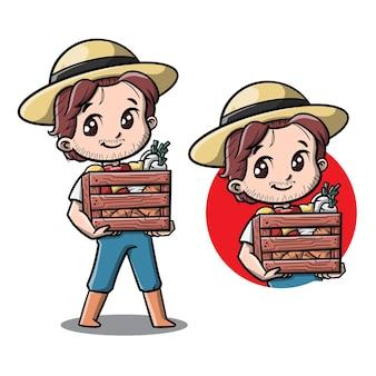Personnage de dessin animé mignon agriculteur