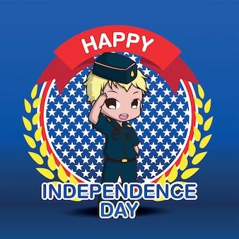 Personnage de dessin animé mignon de l'armée, joyeux jour indépendant.