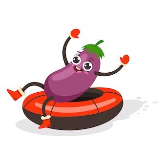 Personnage de dessin animé mignon aubergine kid traîneau sur tube à neige.
