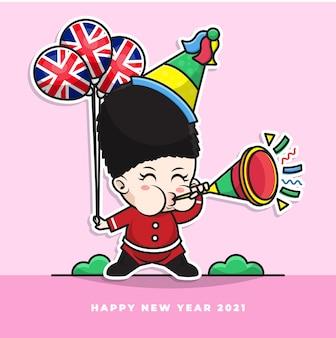 Personnage de dessin animé de mignon bébé britannique souffler la trompette du nouvel an et porter le ballon drapeau national