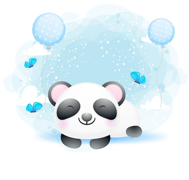 Personnage de dessin animé mignon bébé panda sommeil