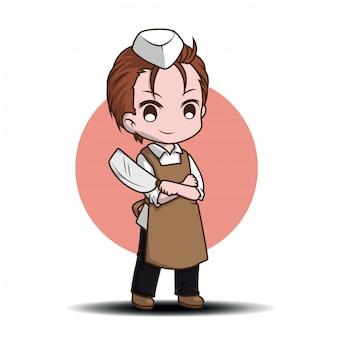Personnage de dessin animé mignon de boucher., job conten.