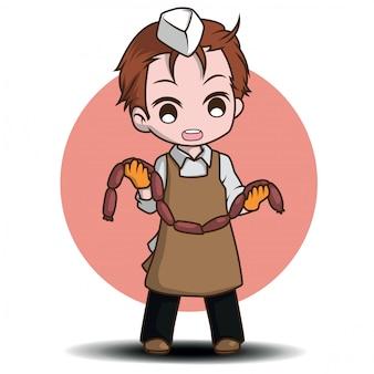 Personnage de dessin animé mignon de boucher., job