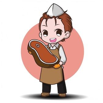 Personnage de dessin animé mignon de boucher