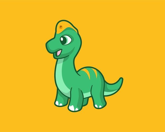 Personnage de dessin animé mignon brachiosaure simple