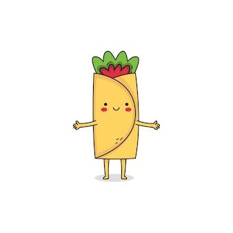 Personnage de dessin animé mignon burrito