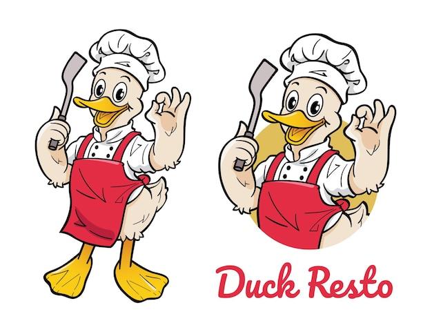 Personnage de dessin animé mignon de canard portant l'uniforme de chef