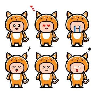 Personnage de dessin animé mignon chat costume
