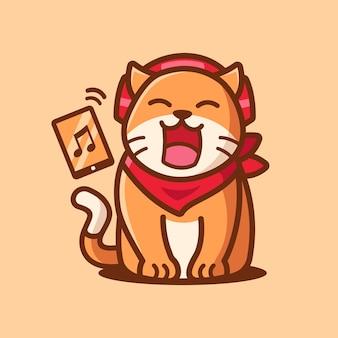 Personnage de dessin animé mignon chat écoutant de la musique
