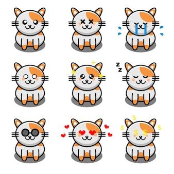 Personnage de dessin animé mignon chat isolé sur blanc