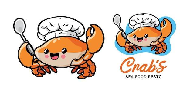 Personnage de dessin animé mignon chef crabe