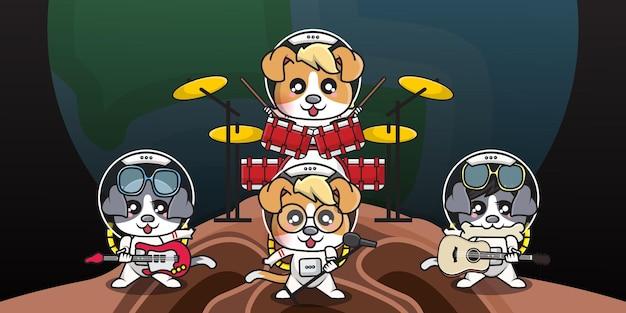 Personnage de dessin animé mignon de chien astronaute joue de la musique dans un groupe de musique