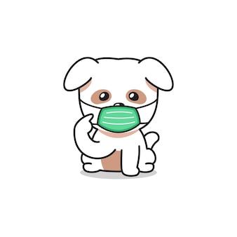 Personnage de dessin animé mignon chien blanc portant un masque protecteur