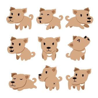 Personnage de dessin animé mignon chien pose