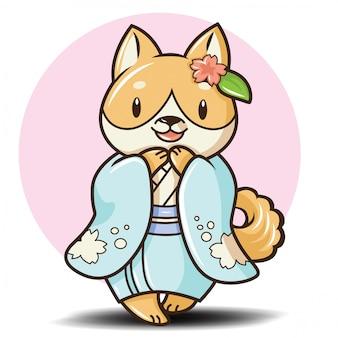 Personnage de dessin animé mignon chien shiba inu.