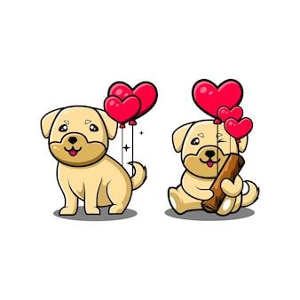 Personnage de dessin animé mignon chien