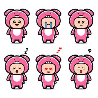 Personnage de dessin animé mignon costume de cochon