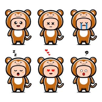 Personnage de dessin animé mignon costume de singe