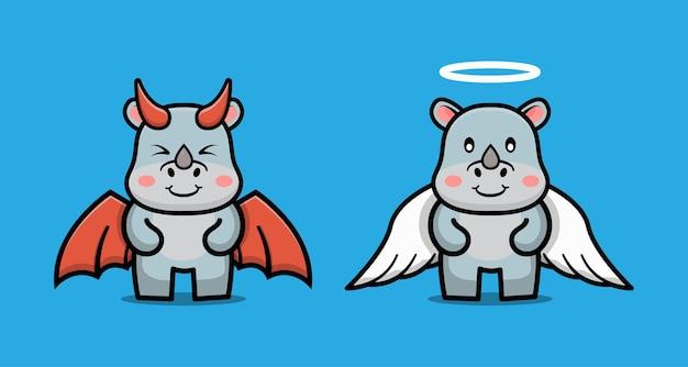 Personnage de dessin animé mignon de couple diable rhinocéros et ange rhinocéros
