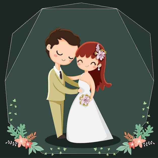 Personnage de dessin animé mignon couple pour les invitations de mariage