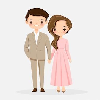 Personnage de dessin animé mignon couple