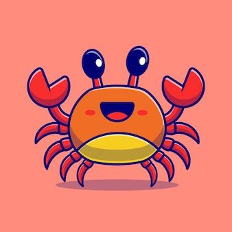 Personnage de dessin animé mignon de crabe. nature animale isolée.