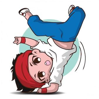 Personnage de dessin animé mignon danseur.