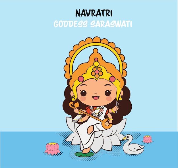 Personnage de dessin animé mignon déesse saraswati pour le festival navratri en inde