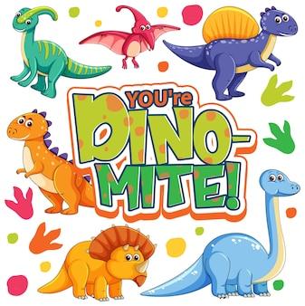 Personnage de dessin animé mignon de dinosaures avec la bannière de polices you're dino mite