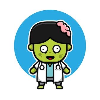 Personnage de dessin animé mignon docteur zombie illustration halloween