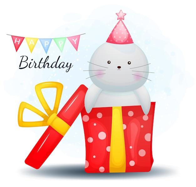 Personnage de dessin animé mignon doodle morse et joyeux anniversaire cadeau