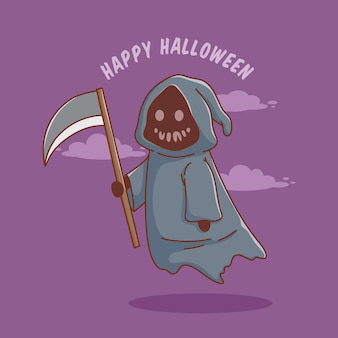 Personnage de dessin animé mignon faucheuse pour affiche ou bannière de carte d'invitation halloween