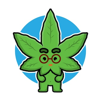 Personnage de dessin animé mignon feuille de marijuana