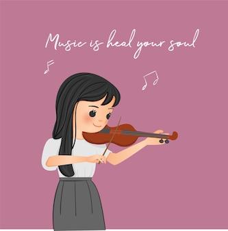 Personnage de dessin animé mignon fille jouant instrument