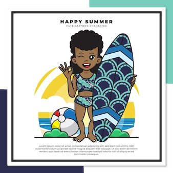 Personnage de dessin animé mignon de fille noire tenant une planche de surf sur la plage avec de joyeuses salutations d'été