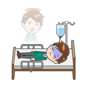 Personnage de dessin animé mignon garçon avec un geste de mort.